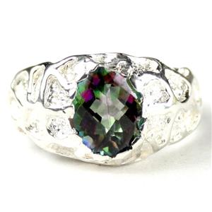 Mystic Fire Topaz, 925 Sterling Silver Men's Nugget Ring, SR168