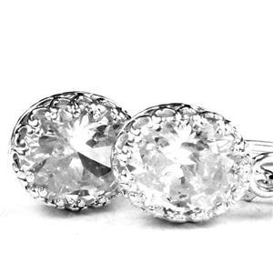 SE109, Cubuc Zirconia, 925 Sterling Silver Crown Bezel Earrings
