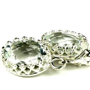 SE109, Green Amethyst (Prasiolite), 925 Sterling Silver Crown Bezel Earrings
