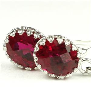SE109, Created Ruby, 925 Sterling Silver Crown Bezel Earrings