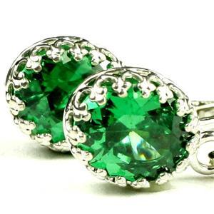 SE109, Russian Nanocrystal Emerald, Sterling Silver Crown Bezel Earrings