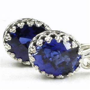 SE109, Created Blue Sapphire, Sterling Silver Crown Bezel Earrings