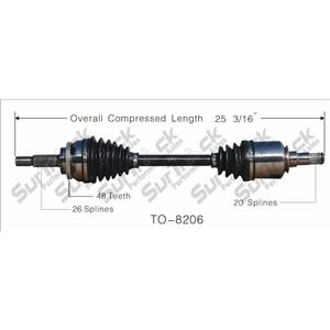 CV Axle Shaft- Front Left TO-8206 D/S 03-06 Vibe 1.8L W 6 Speed Manual Trans