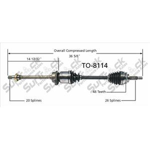 CV Axle Shaft- Front R TO-8114 P/S 03-06 Vibe 1.8L With 6 Speed Manual Trans