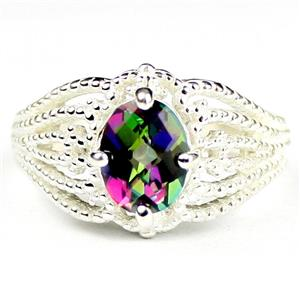 SR365, Mystic Fire Topaz, 925 Sterling Silver Beaded Ladies Ring