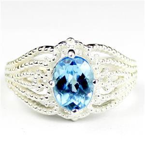 SR365, Swiss Blue Topaz, 925 Sterling Silver Ladies Ring