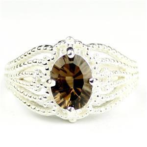 SR365, Smoky Quartz, 925 Sterling Silver Ladies Ring