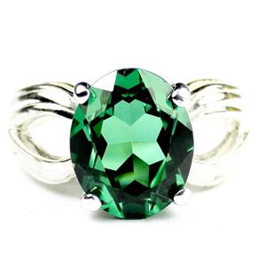SR361, Russian Nanocrystal Emerald, 925 Sterling Silver Ladies Ring