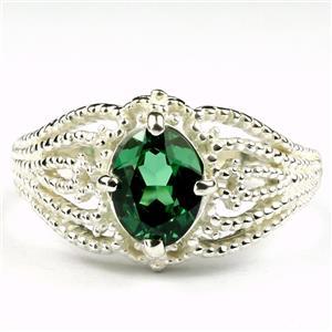 SR365, Russian Nanocrystal Emerald, 925 Sterling Silver Ring