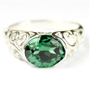 Russian Nanocrystal Emerald, 925 Sterling Silver Ring, SR360