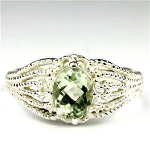 SR365, Green Amethyst (Prasiolite), 925 Sterling Silver Ladies Ring