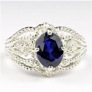 SR365, Created Blue Sapphire, 925 Sterling Silver Sapphire Ladies Ring