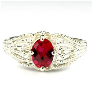 SR365, Created Ruby, 925 Sterling Silver Ladies Ring