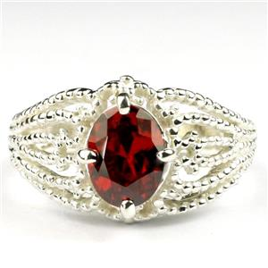 SR365, Garnet CZ, 925 Sterling Silver Ladies Ring