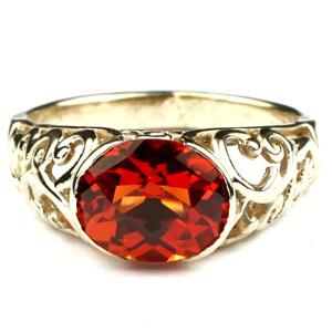 R360, Created Padparadsha Sapphire, Gold Ring