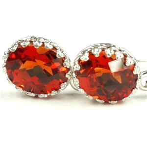 SE109, Created Padparadsha Sapphire, 925 Sterling Silver Leverback Earrings