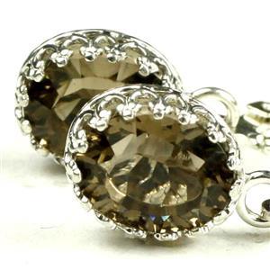 SE109, Smoky Quartz, 925 Sterling Silver Crown Bezel Leveraback Earrings