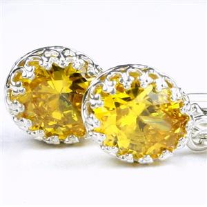 SE109, Golden Yellow CZ, 925 Sterling Silver Crown Bezel Leverback Earrings