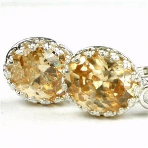 SE109, Champagne CZ, 925 Sterling Silver Crown Bezel Leverback Earrings