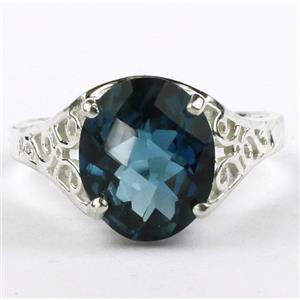 SR057, London Blue Topaz, 925 Sterling Silver Ring