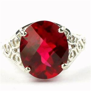 SR057, Created Ruby, 925 Sterling Silver Ring