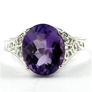 SR057, Amethyst, 925 Sterling Silver Ring