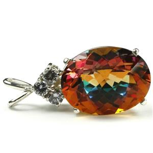 SP016, 22 ct Twilight Fire Topaz, 925 Sterling Siver Pendant