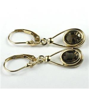 E008, Smoky Quartz Earrings, 14KY Leverbacks
