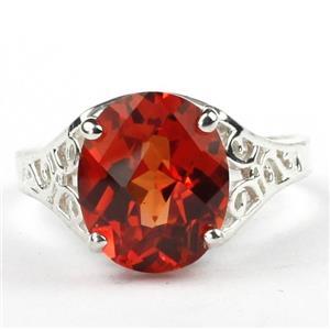 SR057, Created Padparadsha Sapphire, 925 Silver Ring