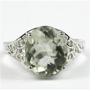 SR057, Green Amethyst, 925 Sterling Silver Ring