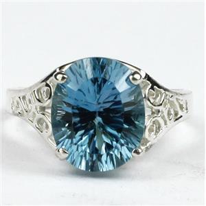 SR057, Quantum Cut Swiss Blue Topaz, 925 Sterling Silver Ring