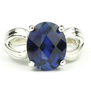 SR361, Created Blue Sapphire, 925 Sterling Silver Ring