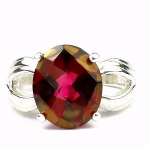 SR361, Crimson Fire Topaz, 925 Sterling Siver Ring