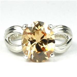 SR361, Champagne CZ, 925 Sterling Silver Ring