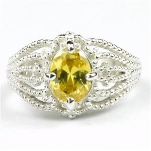 SR365, Golden Yellow CZ, 925 Sterling Silver Ring