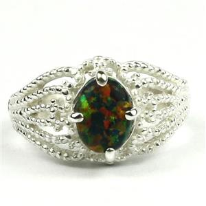 SR365, Created Black Opal, Sterling Silver Ring