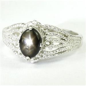 SR365, Black Star Sapphire, 925 Sterling Silver Ring