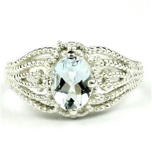 SR365, Aquamarine, 925 Sterling Silver Ring