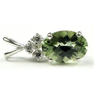 SP043, Green Amethyst 925 Sterling Silver Pendant