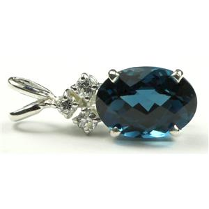 SP043, London Blue Topaz, 925 Sterling Pendant