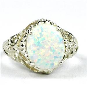 Created White Opal, 925 Sterling Silver Ring, SR114