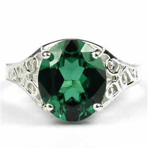 SR057, Russian Nanocrystal Emerald, 925 Sterling Silver Ring