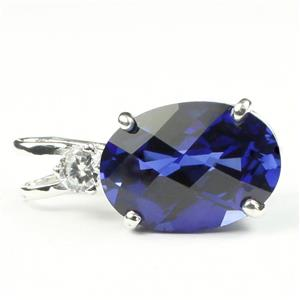 SP019, Created Blue Sapphire, 925 Sterling Silver Pendant