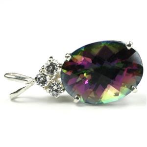 SP016, Mystic Fire Topaz, 925 Sterling Silver Pendant