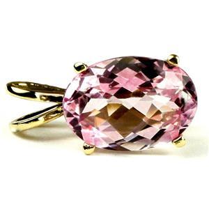 P040, Pure Pink Topaz 14K Gold Pendant