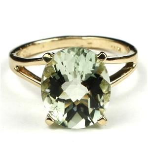 R132, Green Amethyst, Gold Ring