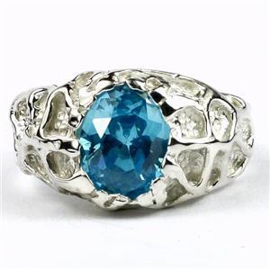 Swiss Blue CZ, 925 Sterling Silver Men's Nugget Ring, SR168