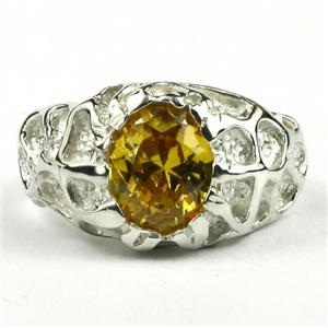 SR168, Golden Yellow CZ, 925 Sterling Silver Men's Nugget Ring