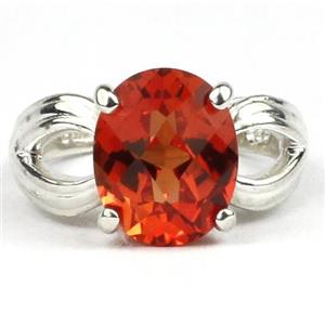 SR361, Created Padparadsha Sapphire, 925 Sterling Silver Ring