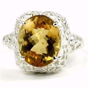 SR009, Citrine, 925 Sterling Silver Antique Style Filigree Ring